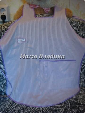 Первый фартук-из передней части рубашки, для меня. Цвет очень красивый - полосочки нежно- сиреневые с белым фото 5