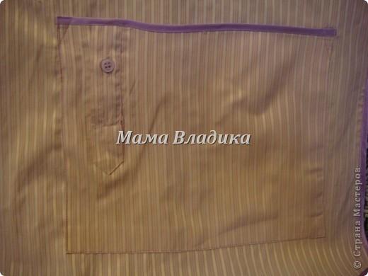 Первый фартук-из передней части рубашки, для меня. Цвет очень красивый - полосочки нежно- сиреневые с белым фото 6