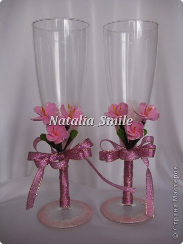 """Вашему вниманию Бокалы """"Сакура"""". Такие бокалы смогут украсить не только свадебное торжество, но и любое праздничное мероприятие ;) фото 3"""