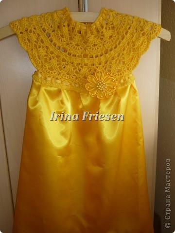 Здравствуйте дорогие мастерицы! Хочу показать вам какое платье связалось и сшилось для моей доченьки. Шила я правда в первый раз. фото 1