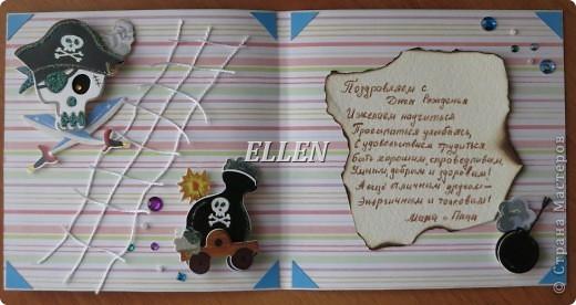 Доброго времени суток! Это мои новые открытки. Июль у нас богат на Дни рождения:)  Эта окрытка на пиратскую тему была подарена сыну :) фото 3