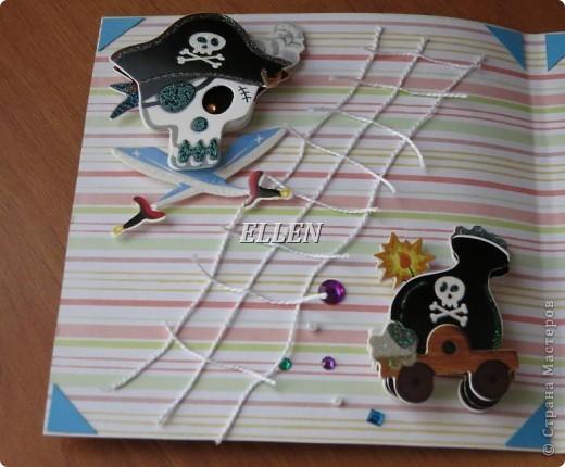 Доброго времени суток! Это мои новые открытки. Июль у нас богат на Дни рождения:)  Эта окрытка на пиратскую тему была подарена сыну :) фото 4