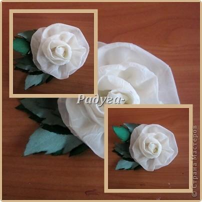 Здравствуй, Страна Мастеров!А у меня теперь цветочки.Из лент и ткани.Это разминка перед очередной вышивкой.Это шоколадная роза.Сделана из атласной ленты 5 см. фото 4