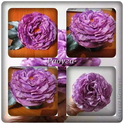 Здравствуй, Страна Мастеров!А у меня теперь цветочки.Из лент и ткани.Это разминка перед очередной вышивкой.Это шоколадная роза.Сделана из атласной ленты 5 см. фото 5