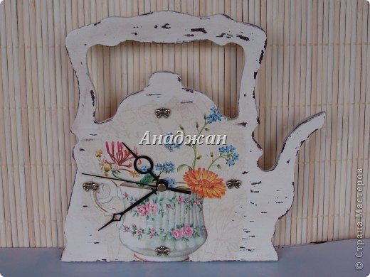 """Набор """"Время пить чай"""" Основы дерево, салфетка, шебби, подвески бантики, бесшумный часовой механизм фото 2"""