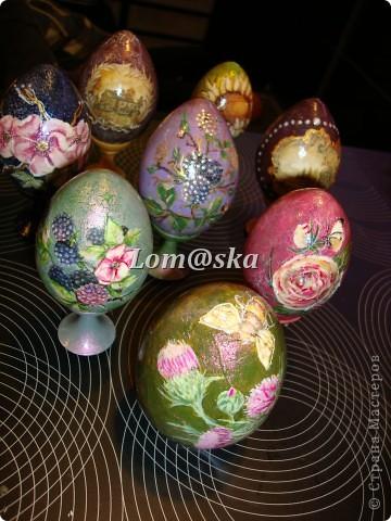 пасхальные яйца, дерево, декупаж фото 9