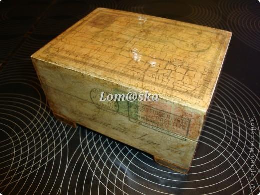 деревянная шкатулка, декупаж, позолота, состаривала битумом. фото 1