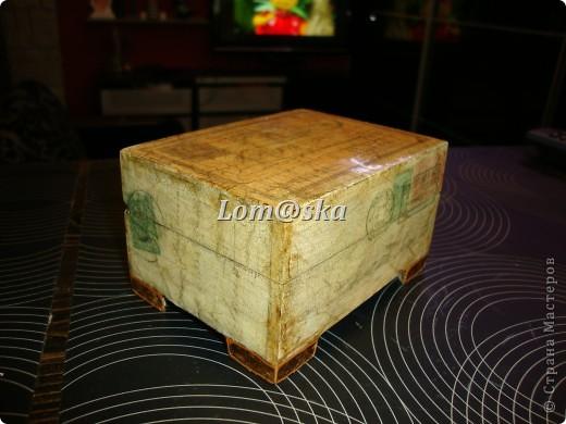 деревянная шкатулка, декупаж, позолота, состаривала битумом. фото 3