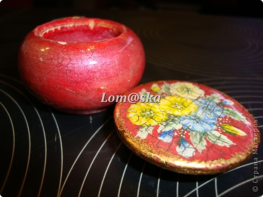 маленькая деревянная шкатулочка, роспись акрилом, позолота фото 3