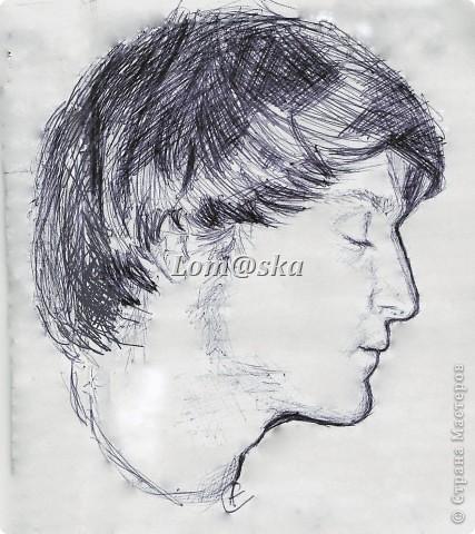 портрет мужа. бумага, шариковая ручка.