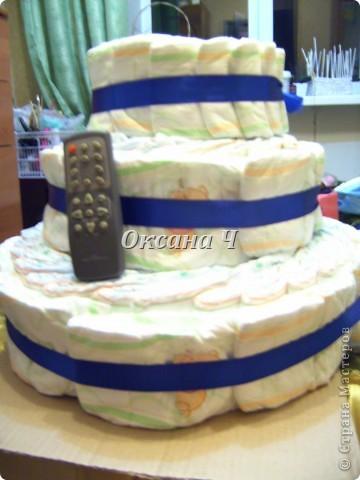 вот и мой торт из памперсов, наконец-то появился повод! фото 2
