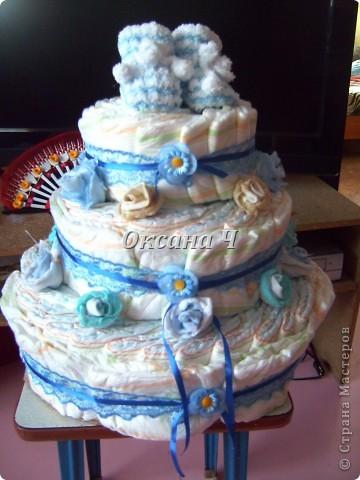вот и мой торт из памперсов, наконец-то появился повод! фото 5