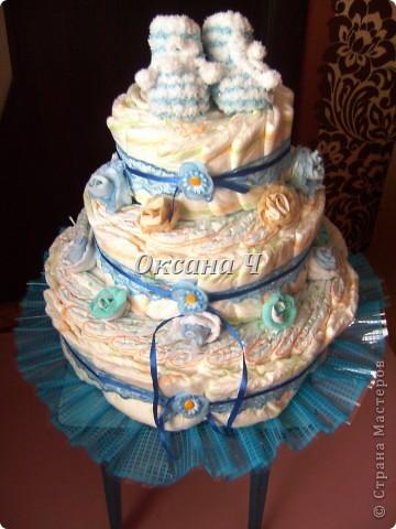 вот и мой торт из памперсов, наконец-то появился повод! фото 7