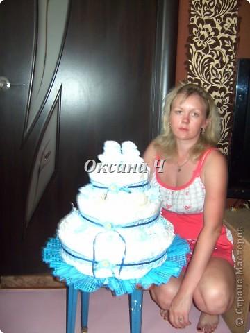 вот и мой торт из памперсов, наконец-то появился повод! фото 10