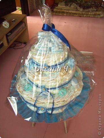 вот и мой торт из памперсов, наконец-то появился повод! фото 1