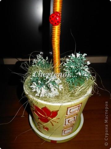 На такой топиарчик меня вдохновила Зимняя Вишенка!!! делала по ее МК вот ссылочка http://stranamasterov.ru/node/388119 Вот что у меня получилось..)) фото 3