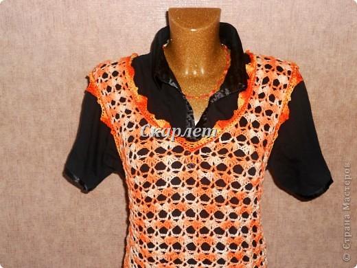 Оранжевый удлинённый топ фото 7