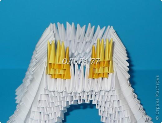 Для данного изделия понадобится: всего 1048  модулей.  Размер используемого модуля  1\32 часть листа, формата А4 Использовалась бумага белого цвета, клей ПВА, балончик с аэрозольной краской серебристого цвета.  фото 26