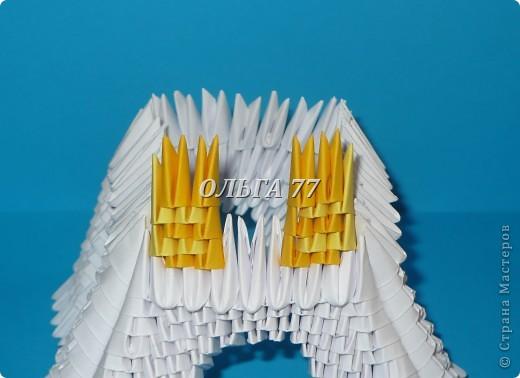 Для данного изделия понадобится: всего 1048  модулей.  Размер используемого модуля  1\32 часть листа, формата А4 Использовалась бумага белого цвета, клей ПВА, балончик с аэрозольной краской серебристого цвета.  фото 27