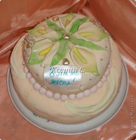 """Мои первый двухуровневый тортик!!! Пекла для родственников на """"железную свадьбу"""".Вес торта 4700г,  мастику в этот раз раскатала слишком тонко, поэтому кое-где есть косячки, со следующим тортиком исправлюсь))) Рецепт торта тут http://stranamasterov.ru/node/371096 фото 1"""