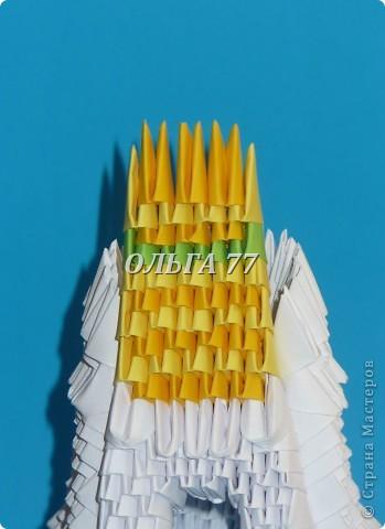 Для данного изделия понадобится: всего 1048  модулей.  Размер используемого модуля  1\32 часть листа, формата А4 Использовалась бумага белого цвета, клей ПВА, балончик с аэрозольной краской серебристого цвета.  фото 43