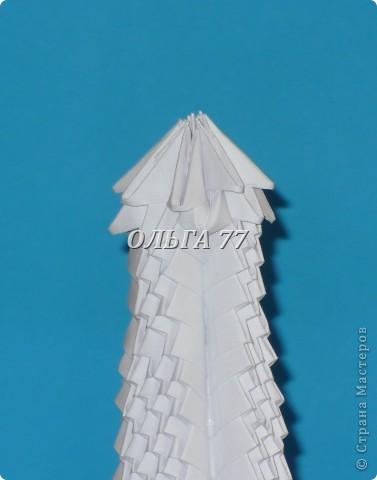 Для данного изделия понадобится: всего 1048  модулей.  Размер используемого модуля  1\32 часть листа, формата А4 Использовалась бумага белого цвета, клей ПВА, балончик с аэрозольной краской серебристого цвета.  фото 55