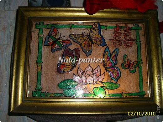 """Ночник в спальню, выполненный в технике """"витраж"""" с помощью витражных красок и лака для ногтей. фото 1"""