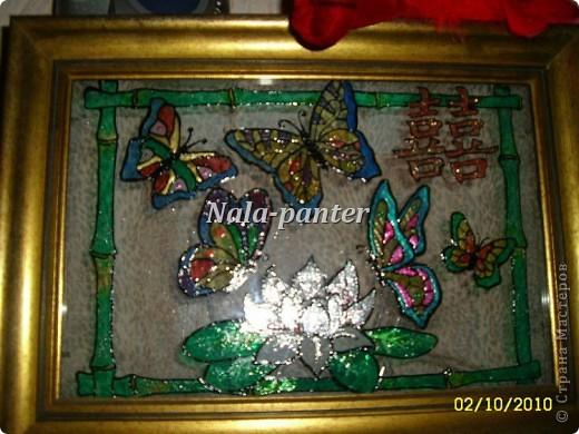 """Ночник в спальню, выполненный в технике """"витраж"""" с помощью витражных красок и лака для ногтей. фото 3"""
