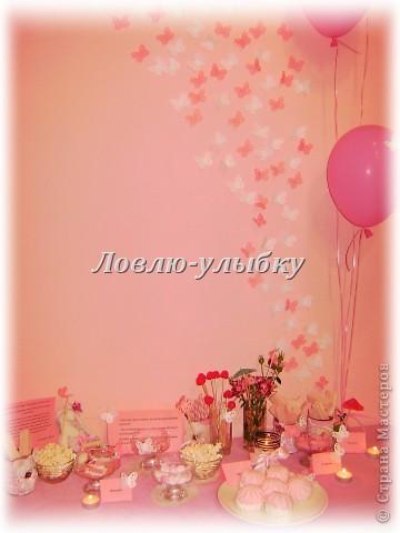 """Что такое Candy bar я уже писала в блоге. Это сладкий островок, декорированный различными аксессуарами и включающий в себя сладости в одной цветовой гамме...хотя можно использовать и все цвета рудуги...главное, чтобы сладкий бар был по истине сладкий. Наш сладкий бар на свадьбу был в розовой гамме под названием """"розовые мечты""""  фото 1"""