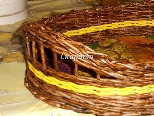 Поднос. Размер: 40*28*8* Трубочки: коричневые - морилка + клей ПВА, жёлтые - колор + клей ПВА Дно: картон, декупаж салфеткой фото 5