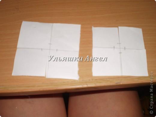 Вырезаем квадрат со стороной 8 см. делим на 4 ровных частей. Делаем ещё одну такую фигуру, но со стороной 6 см. и делим на четыре  части ну примерно ровные ( на глаз ). фото 3