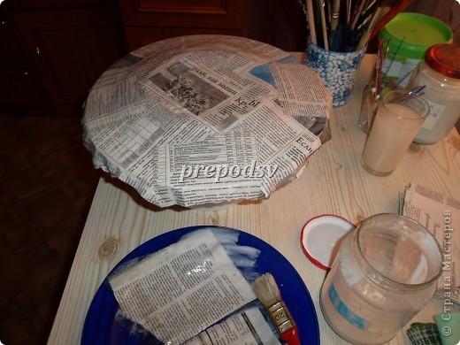 Решила показать как я делаю тарелки из газет.Это последняя тарелка, она для бело-голубой кухни. А теперь обо всем подробно. фото 3