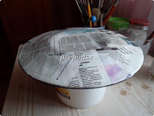 Решила показать как я делаю тарелки из газет.Это последняя тарелка, она для бело-голубой кухни. А теперь обо всем подробно. фото 4