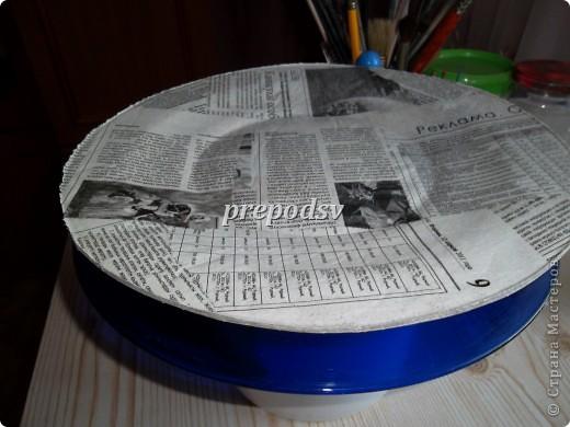 Решила показать как я делаю тарелки из газет.Это последняя тарелка, она для бело-голубой кухни. А теперь обо всем подробно. фото 5