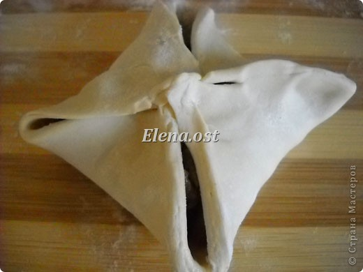 Слойки с грибами.  Ингредиенты:  1 упаковка готового слоеного теста, 0.5 кг свежих шампиньонов,  1 луковица,  2-3 ст. ложки сливок,  растительное масло, соль, перец.   фото 8