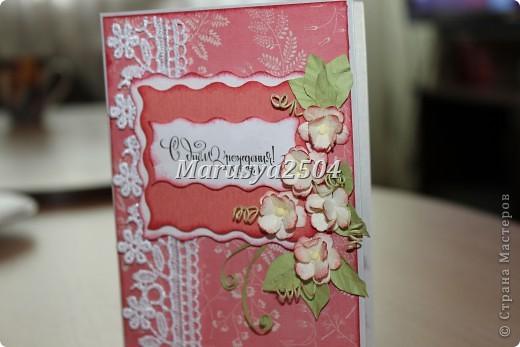 Вот такая нежная розовая открытка кого-то обрадует в день рождения! фото 1