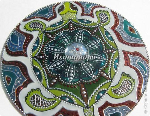 Картина панно рисунок День рождения Роспись Витражные фантазии на дисках Диски компьютерные Краска фото 14