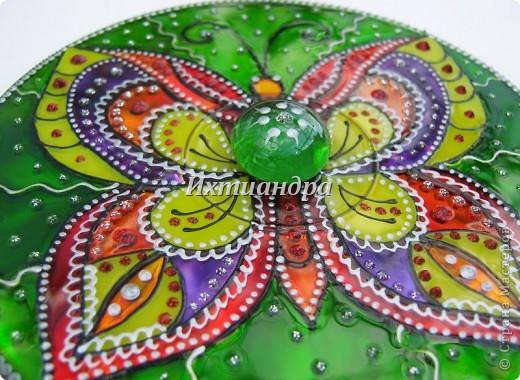 Картина панно рисунок День рождения Роспись Витражные фантазии на дисках Диски компьютерные Краска фото 19