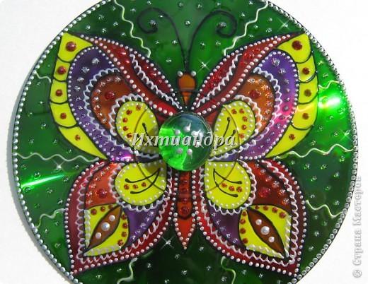Картина панно рисунок День рождения Роспись Витражные фантазии на дисках Диски компьютерные Краска фото 20
