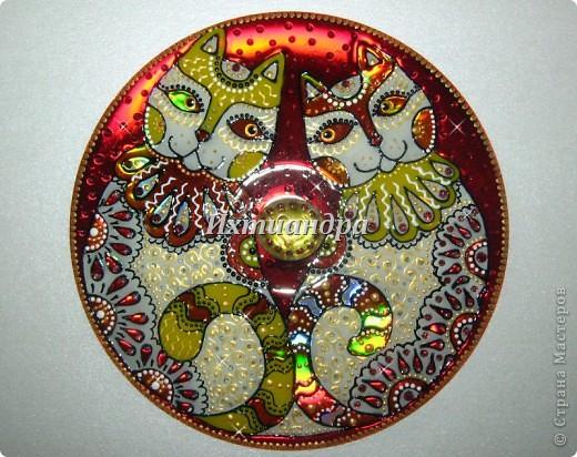 Картина панно рисунок День рождения Роспись Витражные фантазии на дисках Диски компьютерные Краска фото 3