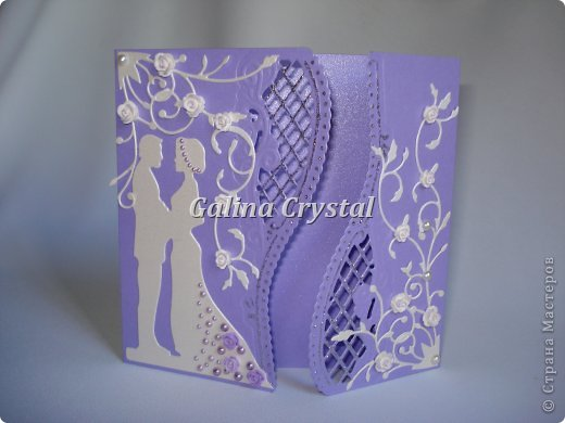 Свадебная поздравительная открытка. Внутри кармашек для денежного подарка и ажурный вкладыш для поздравления. Дизайнерская бумага, вырубка, цветы, полужемчуг. фото 1