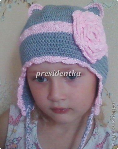 Первая шапочка для дочки!! Очень давно не вязала!!!!И вообще шапочек не вязала!!Взяла самый простой узор! фото 5