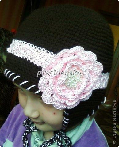Первая шапочка для дочки!! Очень давно не вязала!!!!И вообще шапочек не вязала!!Взяла самый простой узор! фото 6