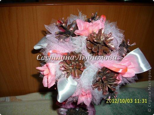 Вот так повезло моим шишкам -они рядом с цветами и лентами! И еще я их покрасила лаком розовым, перламутровым. Гламур да и только! фото 2