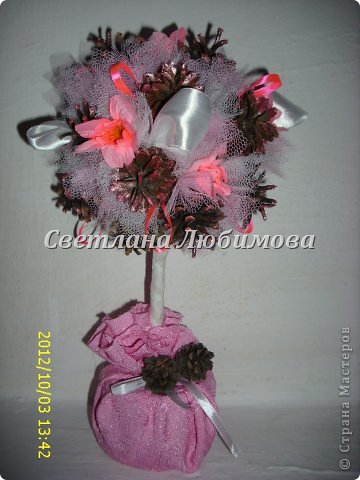 Вот так повезло моим шишкам -они рядом с цветами и лентами! И еще я их покрасила лаком розовым, перламутровым. Гламур да и только! фото 1
