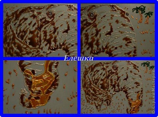 всем доброго времени суток))) Вот решила поделится с Вами своей первой работой с витражными красками, а так как я безумный любитель и коллекционер слонов, то первой работой мог быть только слон! Да еще и такой добрый и любящий зайку!  фото 2