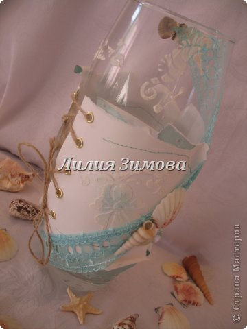 Ваза для одной девушки, делала на свой вкус.Тематику тоже выбрала сама...захотелось мне моря.....Фото в разных ракурсах... фото 9