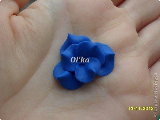 Здравствуйте, Мастерицы! Как и обещала, сделала МК по лепке своего цветочка.  Делать будем цветок неопознанной породы. Это или сорт фиалочки, или гортензия. Вообщем, кто знает ЧТО это - поделитесь, пжлст. :) фото 9