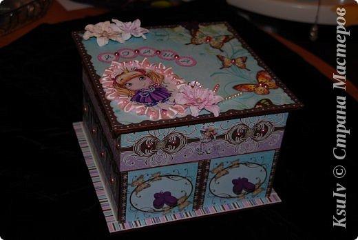 Декор предметов Скрапбукинг Декупаж Шкатулка для девочки + МК по клею Бумага Бусины Скотч фото 1