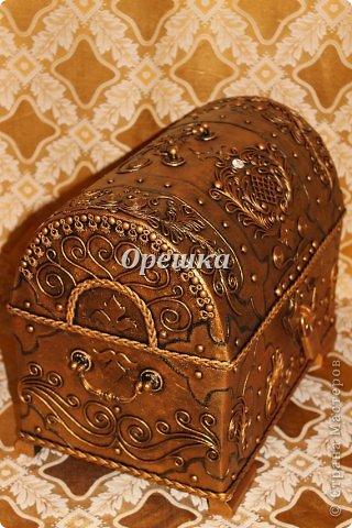 Поделка изделие Бумагопластика Пейп- арт сундук МК   Салфетки фото 19